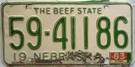 1963 Nebraska  (Single) license plate for sale