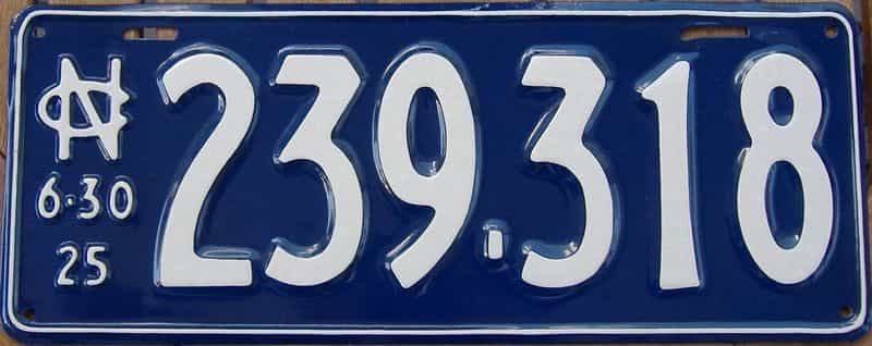RESTORED 1925 NC license plate for sale