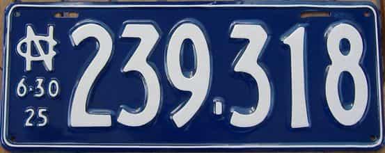 RESTORED 1925 North Carolina license plate for sale