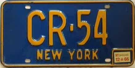 1966 New York  (Single) license plate for sale