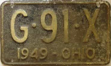 1949 Ohio  (As-Found) license plate for sale
