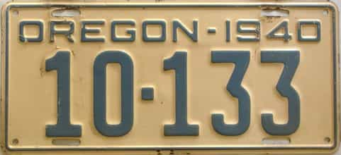 1940 Oregon  (Single) license plate for sale