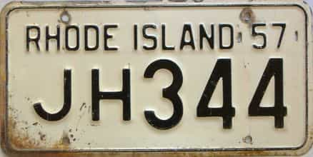 1957 Rhode Island  (Single) license plate for sale