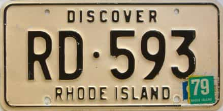1979 Rhode Island  (Single) license plate for sale