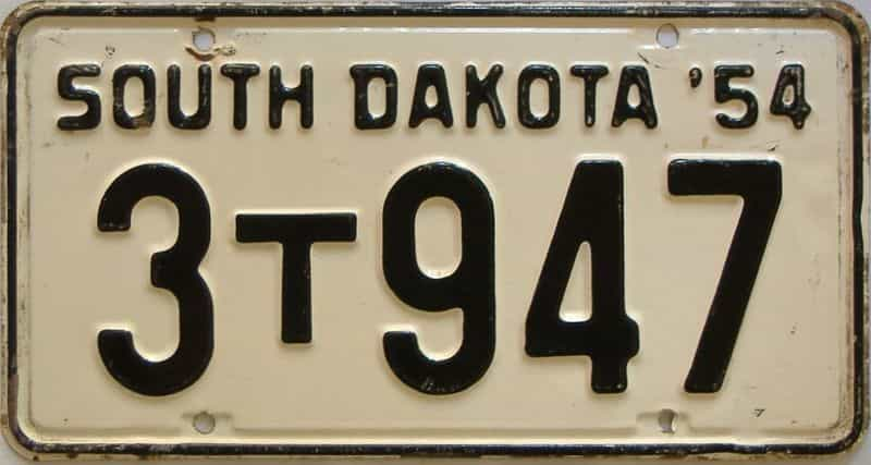 1954 South Dakota  (Farm Truck) license plate for sale