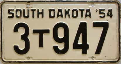 1954 South Dakota  (Farm Truck) license plate for sale
