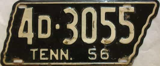 1956 Tennessee  (Single) license plate for sale