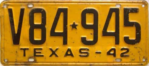 1942 Texas  (Single) license plate for sale