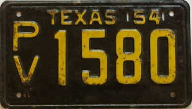 1954 Texas  (Single) license plate for sale