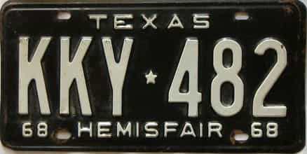 1968 Texas  (Single) license plate for sale