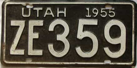 1955 Utah  (Single) license plate for sale