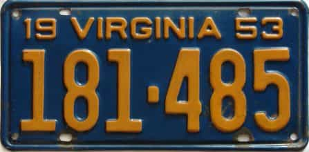 1953 Virginia  (Single) license plate for sale