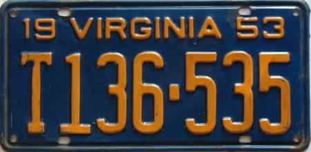 1953 Virginia  (Truck) license plate for sale
