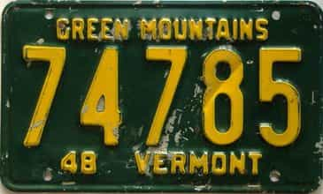 1948 Vermont  (Single) license plate for sale