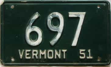 1951 Vermont  (Single) license plate for sale