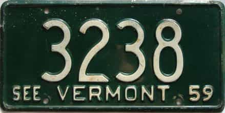 1959 Vermont  (Single) license plate for sale