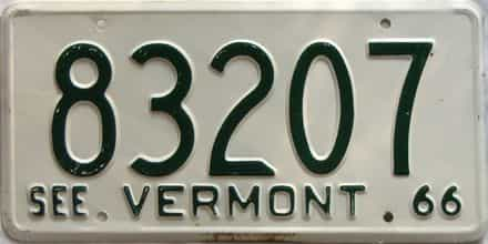 1966 Vermont  (Single) license plate for sale