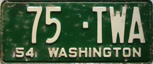 1954 Washington  (Single) license plate for sale
