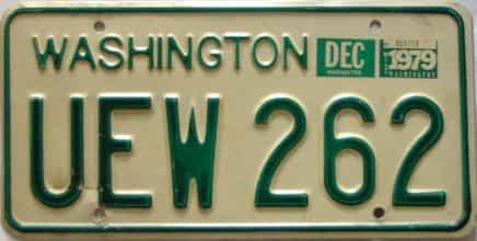 1979 Washington  (Single) license plate for sale