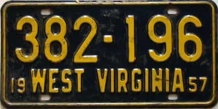 1957 West Virginia license plate for sale