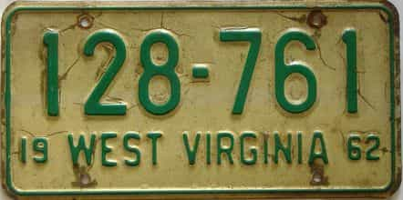 1962 West Virginia license plate for sale