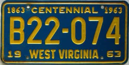 1963 West Virginia  (Truck) license plate for sale