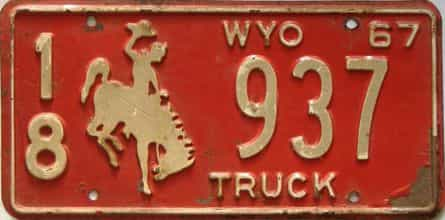 1967 Wyoming  (Truck) license plate for sale