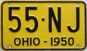 1950 Ohio  (Single) license plate for sale