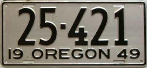 1949 Oregon  (Single) license plate for sale