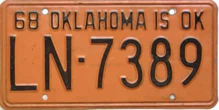 1968 Oklahoma license plate for sale