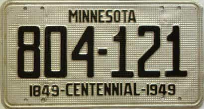 1949 Minnesota  (Single) license plate for sale