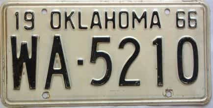 1966 Oklahoma license plate for sale
