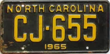 1965 North Carolina license plate for sale