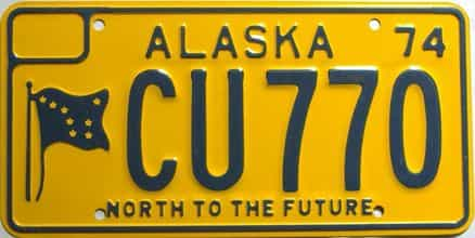 1974 Alaska  (Single) license plate for sale