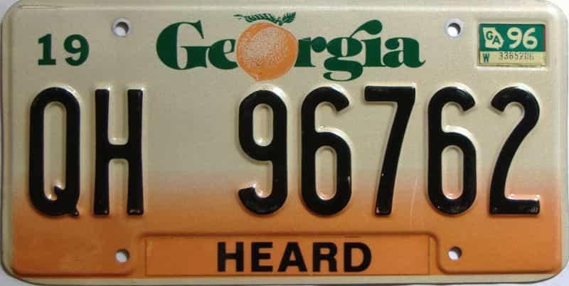1996 Georgia Counties (Heard) license plate for sale
