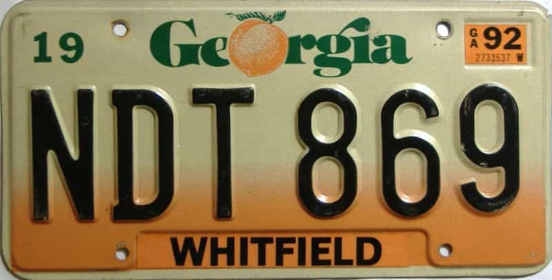 1992 Georgia Counties (Whitfield) license plate for sale