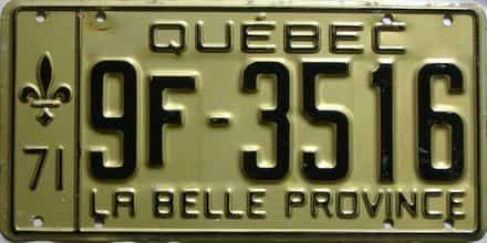 1971 Quebec  (Single) license plate for sale