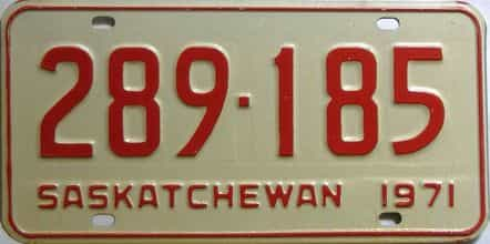 1971 Saskatchewan  (Single) license plate for sale