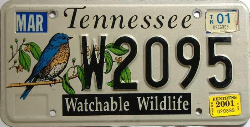 2001 Tennessee license plate for sale