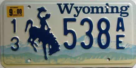 2000 Wyoming  (Single) license plate for sale