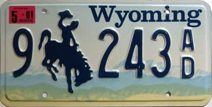 2001 Wyoming  (Single) license plate for sale