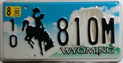2002 Wyoming  (Single) license plate for sale