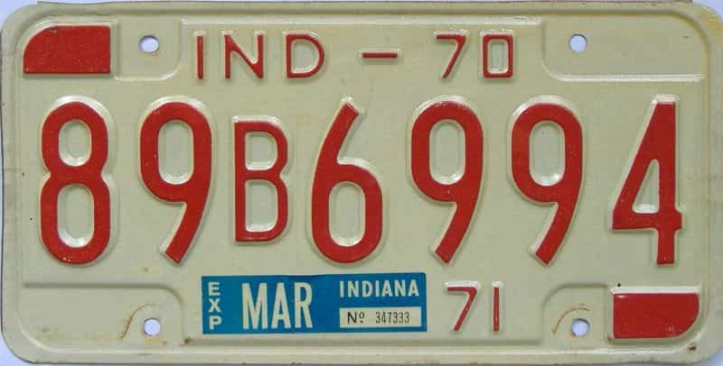 1970 IN license plate for sale