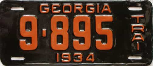 1934 Georgia  (Very Nice Older Repaint) license plate for sale