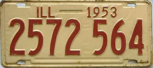 1953 Illinois  (Single) license plate for sale