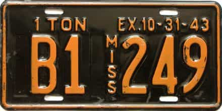 1943 Mississippi  (Truck) license plate for sale