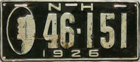 1926 New Hampshire  (Single) license plate for sale