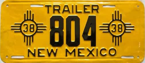 RESTORED 1938 New Mexico  (Trailer) license plate for sale