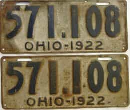 1922 Ohio  (Pair) license plate for sale