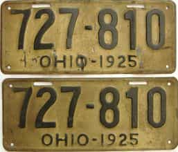 1925 Ohio  (Pair) license plate for sale